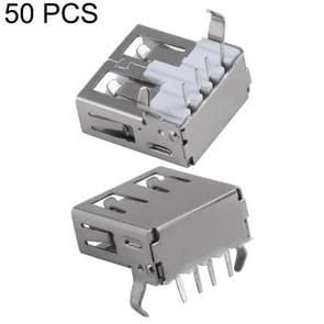 50 PCS USB 2.0 AF 90 Degrees Bent Feet Connector without Edge, PBT White, Iron Case, Electroplated Semi-tin 1u