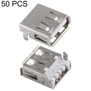 50 PCS USB 2.0 AF 90 Degrees Heavy Plate Connector with Edge, PBT White, Iron Case, Electroplated Semi-tin 1u