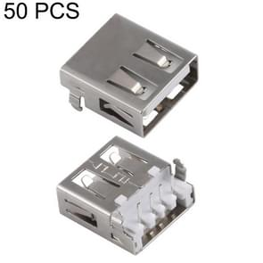 50 PCS USB 2.0 AF 90 Degrees Heavy Plate Connector without Edge, PBT White, Iron Case, Electroplated Semi-tin 1u