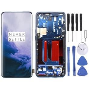 AMOLED-materiaal LCD-scherm en Digitizer Volledige assemblage met frame voor OnePlus 7 Pro(Blauw)