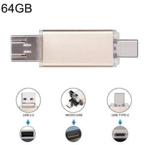 64GB 3 in 1 USB-C / Type-C + USB 2.0 + OTG Flash Disk, For Type-C Smartphones & PC Computer (Gold)