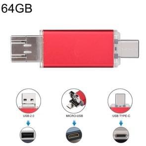 64GB 3 in 1 USB-C/type-C + USB 2 0 + OTG Flash Disk  voor type-C smartphones & PC computer (rood)