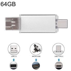 64GB 3 in 1 USB-C/type-C + USB 2 0 + OTG Flash Disk  voor type-C smartphones & PC computer (zilver)