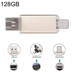 128GB 3 in 1 USB-C / Type-C + USB 2.0 + OTG Flash Disk, For Type-C Smartphones & PC Computer(Gold)