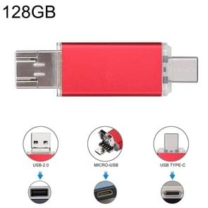 128GB 3 in 1 USB-C / Type-C + USB 2.0 + OTG Flash Disk, For Type-C Smartphones & PC Computer(Red)