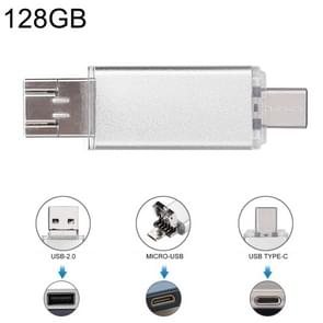 128GB 3 in 1 USB-C / Type-C + USB 2.0 + OTG Flash Disk, For Type-C Smartphones & PC Computer(Silver)