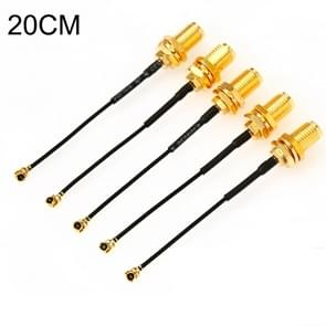 5 STKS/set RG178 ufl/IPX/IPEX naar SMA Female adapter Braid kabel  lengte: 20cm