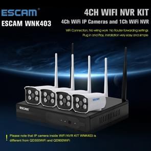 ESCAM WNK403 4CH 720P 1/4 inch CMOS 1.0 Mega Pixel WiFi Bullet IP Camera NVR Kit, Support Night Vision / Motion Detection