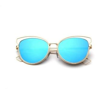 Metal Frame Cat Eye Sunglasses (Lens Colour: Gold Framed Mercury, Frame Colour: Gold Box)