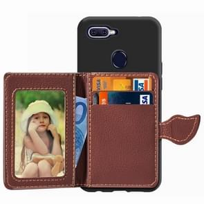 Leaf Buckle Litchi Texture Card Holder PU + TPU Case for OPPO F9, with Card Slot & Holder & Wallet & Photo Frame