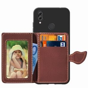 Leaf Buckle Litchi Texture Card Holder PU + TPU Case for Xiaomi Redmi Note 7, with Card Slot & Holder & Wallet & Photo Frame(Black)