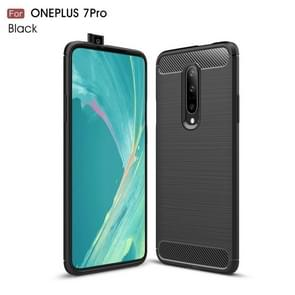 Brushed Texture Carbon Fiber TPU Case for OnePlus 7 Pro(Black)