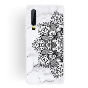 Half Flower Frosted Matte Semi-transparent TPU Marble Phone Case for Huawei P30