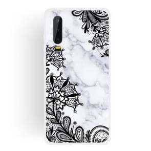 Lace Flower Matte Semi-transparent TPU Marble Mobile Phone Case for Huawei P30
