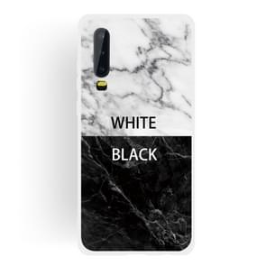 Black and White Text Matte Semi-transparent TPU Marble Mobile Phone Case for Huawei P30