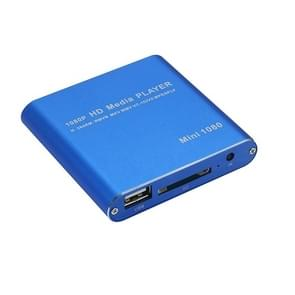 MINI 1080P Full HD Media USB HDD SD/MMC Card Player Box, EU Plug(Blue)