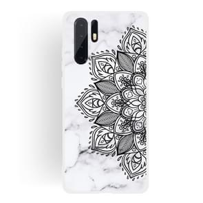 Half Flower Frosted Matte Semi-transparent TPU Marble Phone Case for Huawei P30 Pro