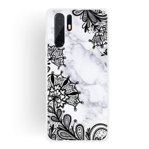 Lace Flower Matte Semi-transparent TPU Marble Mobile Phone Case for Huawei P30 Pro