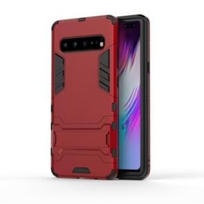 Schokbestendige PC + TPU Case voor Galaxy S10 5G  met houder (rood)