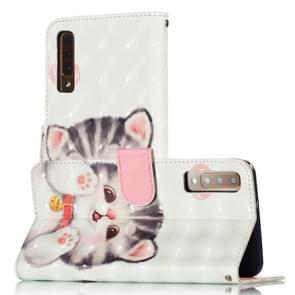 3D Pattern Colored Drawing Horizontal Flip Leather Case for Galaxy A750 / A7 (2018), with Holder & Card Slots & Wallet & Lanyard(Tinker Cat)