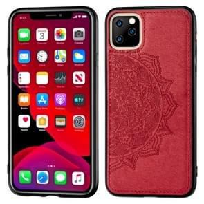 Embossed Mandala pattern PC + TPU + Fabric Phone Case for iPhone 11 Pro , with Lanyard & Magnetic(Red)