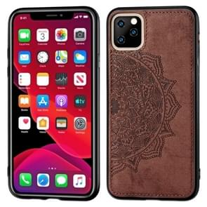 Embossed Mandala pattern PC + TPU + Fabric Phone Case for iPhone 11 Pro , with Lanyard & Magnetic(Brown)