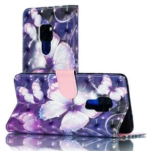 3D Pattern Colored Drawing Horizontal Flip Leather Case for Huawei Mate 20, with Holder & Card Slots & Wallet & Lanyard(Purple Butterfly)