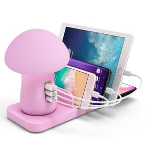 HQ-UD12 Multi-port USB Small Grinding Lamp Multi-function QC 3.0 Wireless Charging Stand Small Night Light 英规 Pink