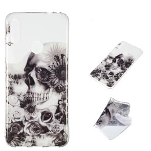 Black flower Skull Pattern Highly Transparent TPU Protective Case for Xiaomi Redmi Note 7(Black)