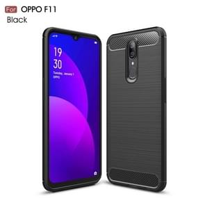 Brushed Texture Carbon Fiber TPU Case for OPPO F11(Black)