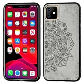 Embossed Mandala pattern PC + TPU + Fabric Phone Case for  iPhone 11  , with Lanyard & Magnetic(Gray)