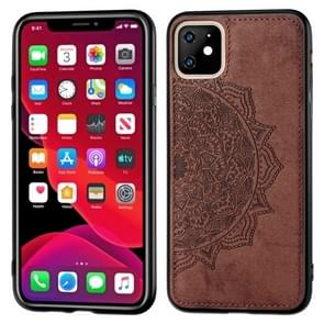 Embossed Mandala pattern PC + TPU + Fabric Phone Case for  iPhone 11  , with Lanyard & Magnetic(Brown)