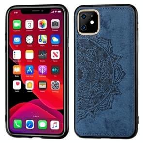 Reliëf Mandala patroon PC + TPU + stof telefoon Case voor iPhone XIR 2019  met Lanyard & magnetische (blauw)