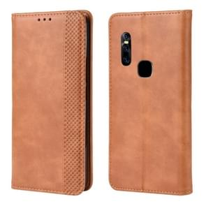 Magnetic Buckle Retro Crazy Horse Texture Horizontal Flip Leather Case for Vivo V15, with Holder & Card Slots & Photo Frame(Brown)