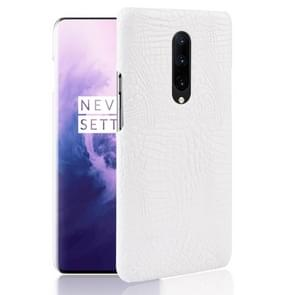 Shockproof Crocodile Texture PC + PU Case for OnePlus 7 Pro(White)