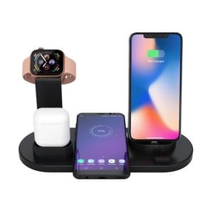 HQ-UD15 5 in 1 Micro USB + USB-C / Type-C + 8 Pin Interface Mobile Phone Charging Base with 8 Pin Earphone Charging Interface & Watch Stand (Black)