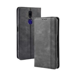 Magnetic Buckle Retro Crazy Horse Texture Horizontal Flip Leather Case for Oppo F11 , with Holder & Card Slots & Photo Frame(Black)