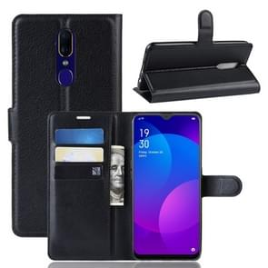 Litchi Texture Wallet Leather Stand Protective Case for OPPO F11(black)