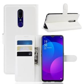 Litchi Texture Wallet Leather Stand Protective Case for OPPO F11(white)