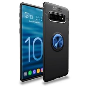 Shockproof TPU Case for Galaxy S10+, with Ring Holder(Black Blue)