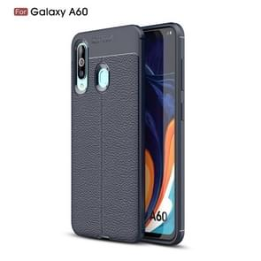 Litchi Texture TPU Shockproof Case for Galaxy A60(Navy Blue)