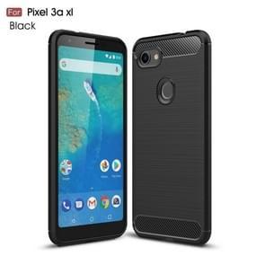 Brushed Texture Carbon Fiber TPU Case for Google Pixel 3a XL(Black)