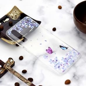 Patroon TPU schokbestendig beschermende terug Cover Case voor Huawei P30 (bloem vlinder)