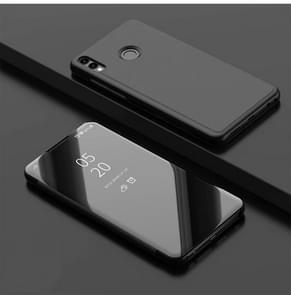 Electroplating Mirror Horizontal Flip Leather Case for Xiaomi Redmi Note 7/Redmi Note 7 Pro with Holder(Black)