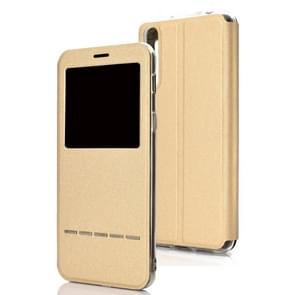 Golden Beach Intelligent Answering Brings Electric Display Window with Bracket Left and Right Flip Cover Leather Case For Huawei P30(Gold)