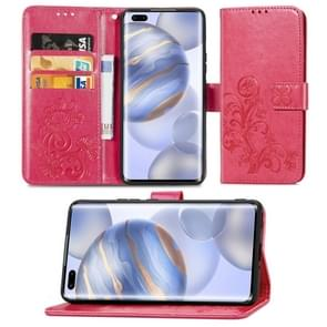 Voor Huawei Honor 30 Pro/30 Pro+ Lucky Clover Pressed Flowers Pattern Leather Case met Holder & Card Slots & Wallet & Hand Strap(Rose)