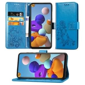 Voor Samsung Galaxy A21s Lucky Clover Pressed Flowers Pattern Leather Case met Holder & Card Slots & Wallet & Hand Strap(Blue)
