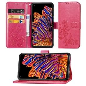 Voor Galaxy Xcover Pro Lucky Clover Pressed Flowers Pattern Leather Case met Holder & Card Slots & Wallet & Hand Strap(Rose)