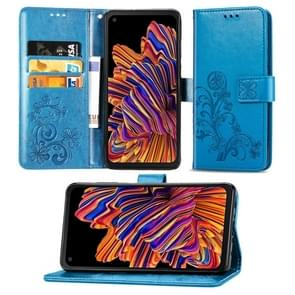 Voor Galaxy Xcover Pro Lucky Clover Pressed Flowers Pattern Leather Case met Holder & Card Slots & Wallet & Hand Strap(Blue)