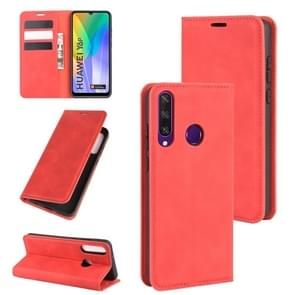 Voor Huawei Y6p Retro-skin Business Magnetic Suction Leather Case met Holder & Card Slots & Wallet(Red)